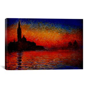Sunset by Claude Monet Painting Print on Canvas by Alcott Hill