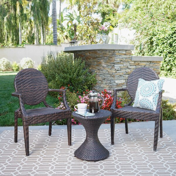 Ziv 3 Piece Rattan Seating Group by Ophelia & Co.