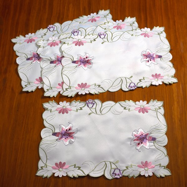 Seville Embroidered Vintage Lace Placemat (Set of 4) by Violet Linen