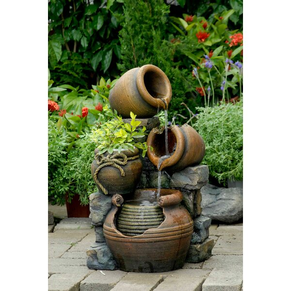 Resin/Fiberglass Multi Pots Fountain by Jeco Inc.
