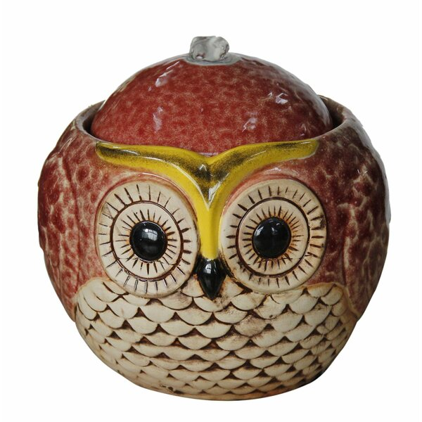 Ceramic Owl Tabletop Fountain by Benzara