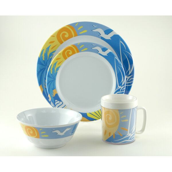Decorated Melamine Ocean Breeze 16 Piece Dinnerware Set, Service for 4 by Galleyware Company