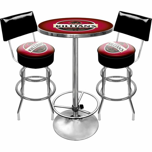 Killians Beer Game Room 3 Piece Pub Table Set by Trademark Global Trademark Global