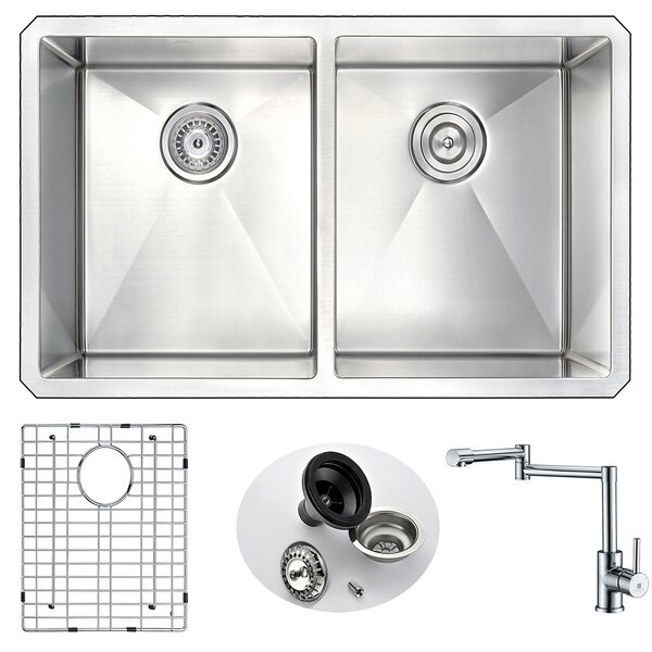 Vanguard 32 L x 18 W Double Bowl Undermount Kitchen Sink and Faucet by ANZZI