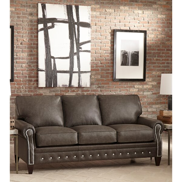 Jacey Leather Sofa Bed by 17 Stories