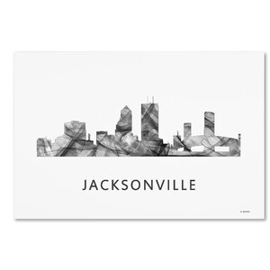 Jacksonville Florida Skyline WB-BW by Marlene Watson Graphic Art on Wrapped Canvas by Trademark Fine Art