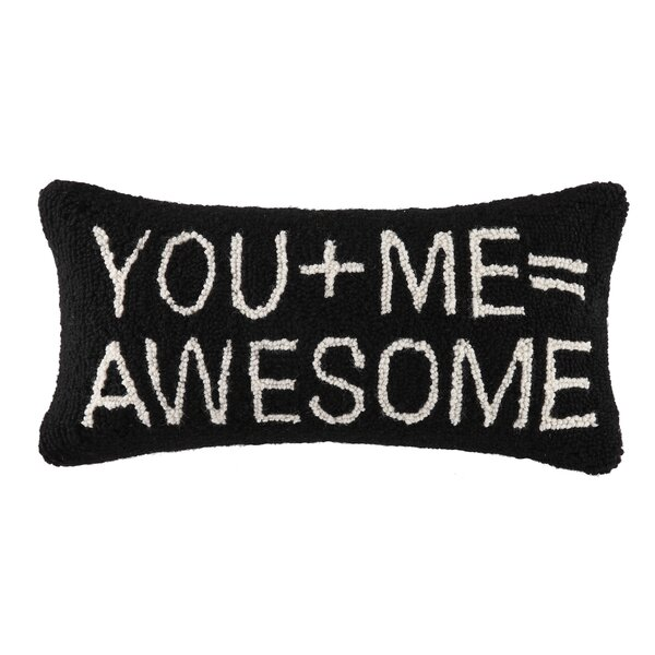 You+Me=Awesome Hook Wool Lumbar Pillow by Peking Handicraft