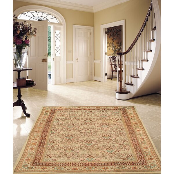 Antique Sultanabad Hand-Knotted Wool Ivory Area Rug