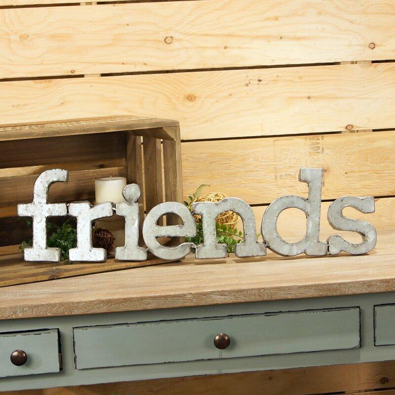 American Mercantile \'Friends\' Metal Words Wall Décor & Reviews | Wayfair