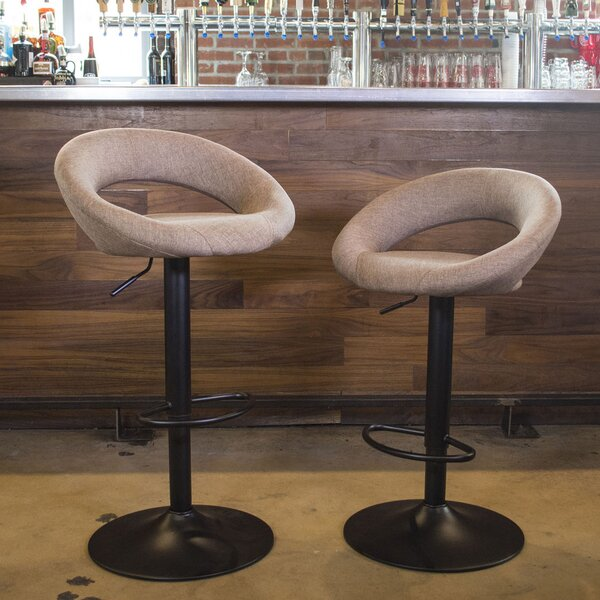 Basurto Adjustable Height Swivel Bar Stool (Set of 2) by Ebern Designs
