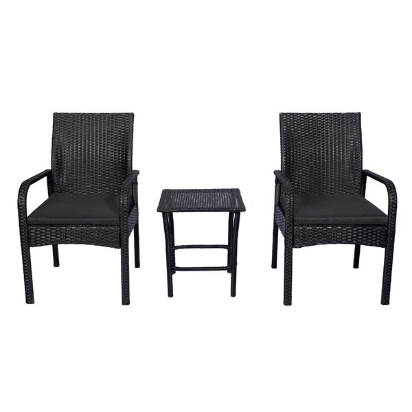 Caceres 3 Piece Rattan Conversation Set with Cushions by Highland Dunes