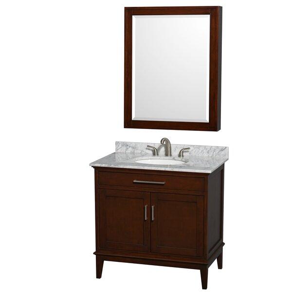 Hatton 36 Single Dark Chestnut Bathroom Vanity Set with Medicine Cabinet by Wyndham Collection
