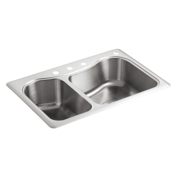 Staccato 33 L x 22 W x 8-5/16 Top-Mount Double-Bowl Kitchen Sink with 4 Faucet Holes by Kohler