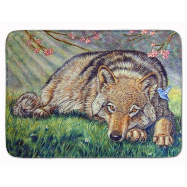 Wolf and Hummingbird Memory Foam Bath Rug