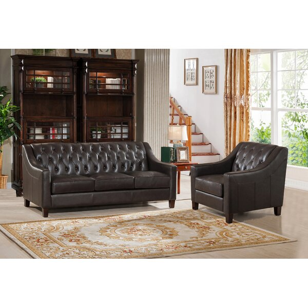 Charley Leather 2 Piece Living Room Set by Canora Grey