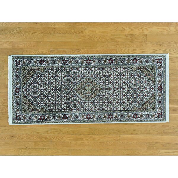 One-of-a-Kind Bilodeau Mahi Hand-Knotted Ivory Wool/Silk Area Rug by Isabelline