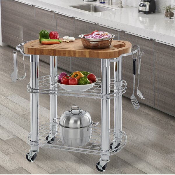 Kuykendall Rolling Oval Solid Bamboo Kitchen Cart with Butcher Block Top by Symple Stuff