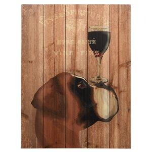 'Dog Au Vin Boxer' Vintage Advertisement on Wood by Red Barrel Studio