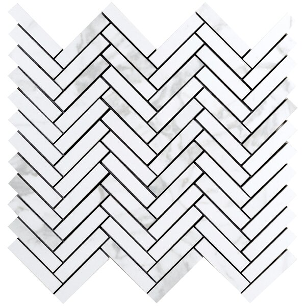 Duomo Chevron 1 x 2 Porcelain Mosaic Tile in Bianchi by Emser Tile