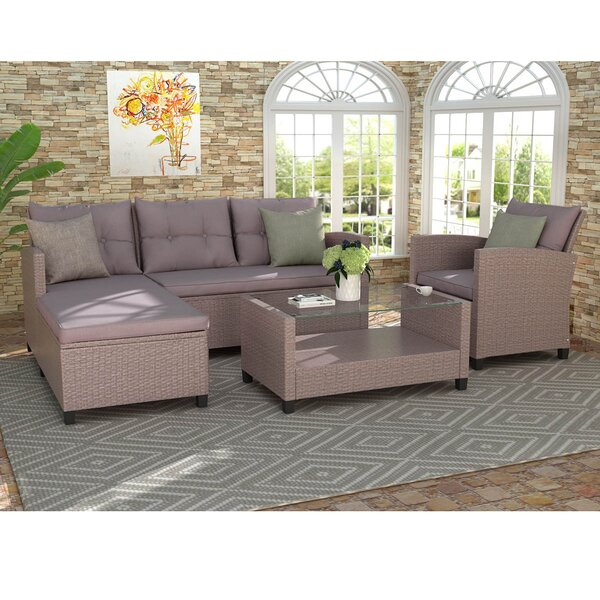 4 Piece Rattan Sectional Seating Group with Cushions by Latitude Run
