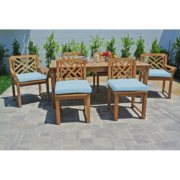 Vermehr 7 Piece Teak Sunbrella Dining Set with Cushions