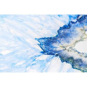 'Blue Crystal Shards' Painting Print on Wrapped Canvas by Marmont Hill