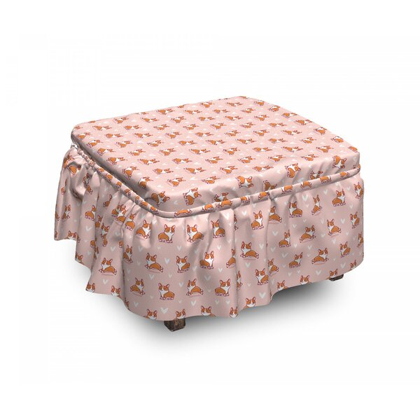 Dog Lover Little Corgis 2 Piece Box Cushion Ottoman Slipcover Set By East Urban Home
