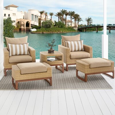 Addison 5 Piece Sunbrella Conversation Set with Cushions Bayou Breeze Cushion Color: Maxim Beige