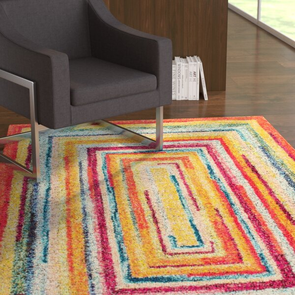Horace Labyrinth Red/Yellow Area Rug by Latitude Run