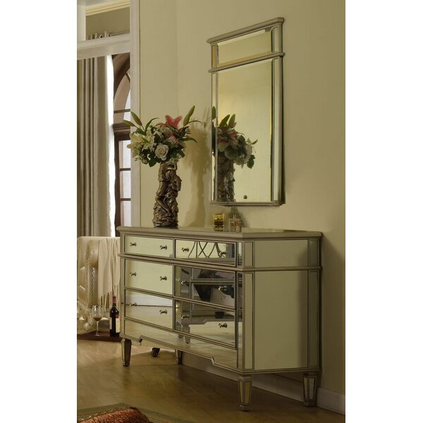 6 Drawer Double Dresser with Mirror by BestMasterFurniture