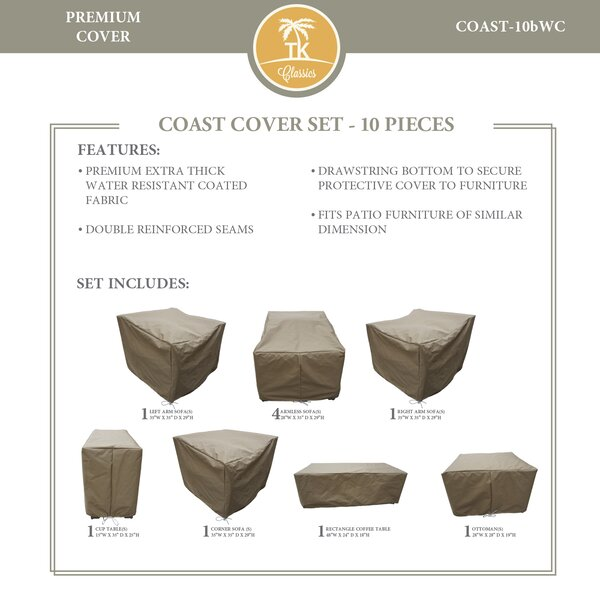 Coast Protective 10 Piece Water Resistant Patio Furniture Cover Set by TK Classics