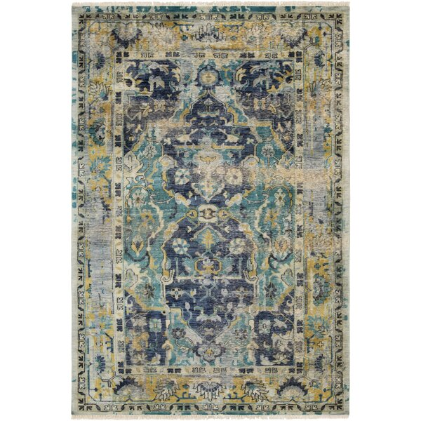 Makenna Hand-Knotted Navy/Teal Area Rug by Bungalow Rose