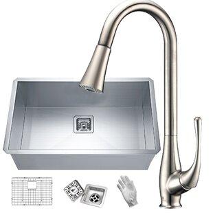 Vanguard Stainless Steel 30 L x 18 W Undermount Kitchen Sink with Faucet ByANZZI