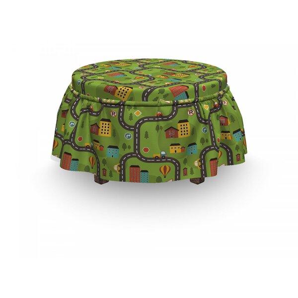 Car Race Track Cartoon Road 2 Piece Box Cushion Ottoman Slipcover Set By East Urban Home