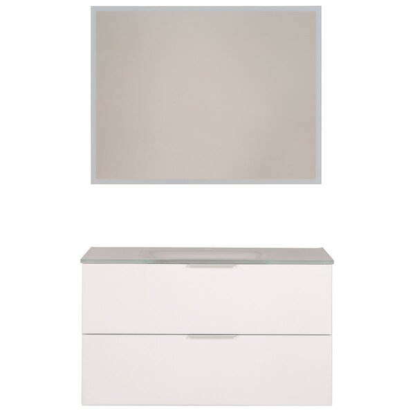 Luxy 35 Wall-Mounted Single Bathroom Vanity Set with Mirror by Parisot