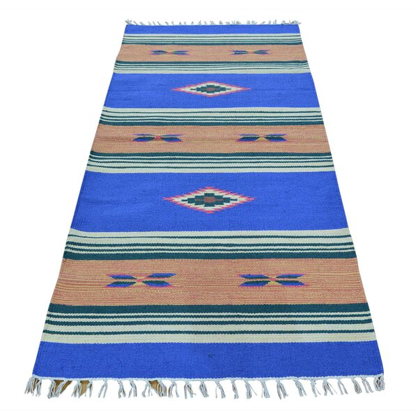 One-of-a-Kind Toole Flat Weave Killim Reversible Hand-Knotted Cotton Blue Area Rug by Millwood Pines
