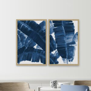 'Blue Banana Leaves' Diptych Watercolor Painting Print by Brayden Studio