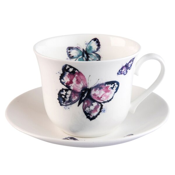 Yaqi Butterfly Bone China Teacup & Saucer by Red Barrel Studio
