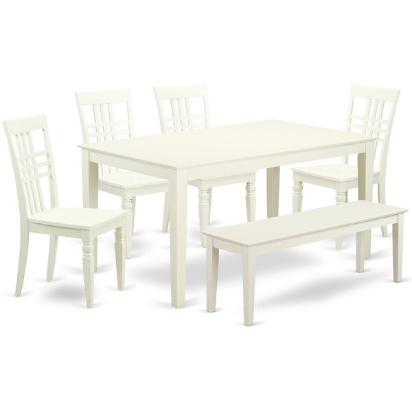 Smyrna 6 Piece Solid Wood Breakfast Nook Dining Set by Charlton Home Charlton Home