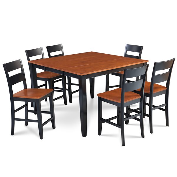 Charlestown 7 Piece Counter Height Solid Wood Dining Set by Alcott Hill