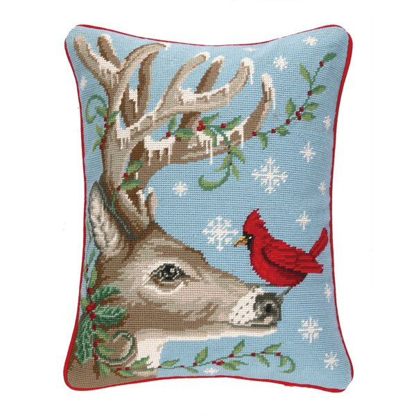 Winter Nest Reindeer Needlepoint Lumbar Pillow by Peking Handicraft