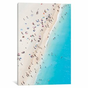 'Aerial View of Myrtos Beach VIII, Cephalonia, Ionian Islands, Greece' Photographic Print on Wrapped Canvas by East Urban Home