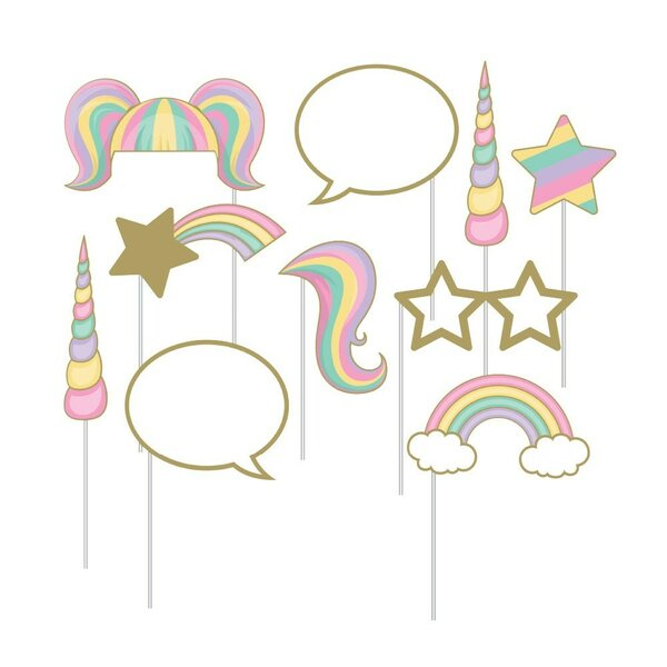 10 Piece Unicorn Sparkle Assorted Paper Disposable Photo Prop Set [NA]