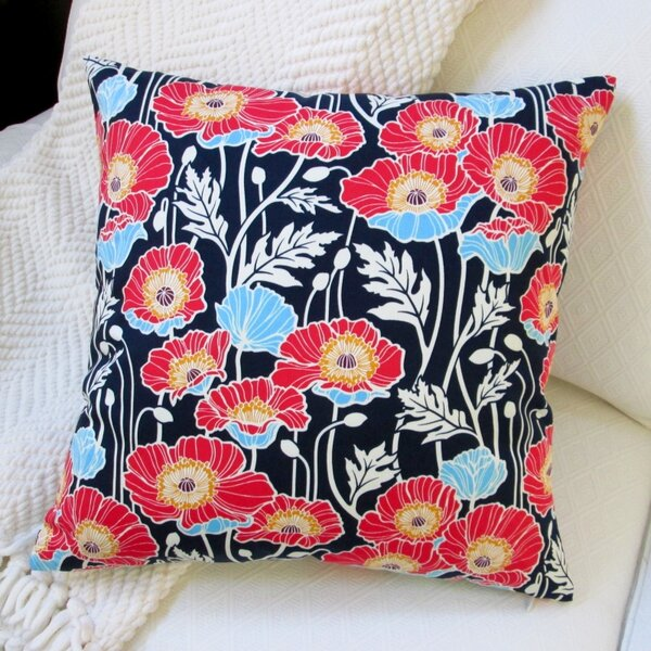 Pristine Poppy Cotton Pillow Cover by Artisan Pillows