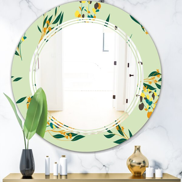 Triple C Eucalyptus Floral Pattern III Cottage Americana Frameless Wall Mirror