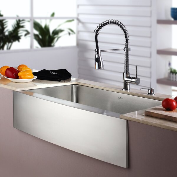 Kitchen Combos 33 L x 21 W Single Basin Farmhouse/Apron Kitchen Sink with Faucet by Kraus