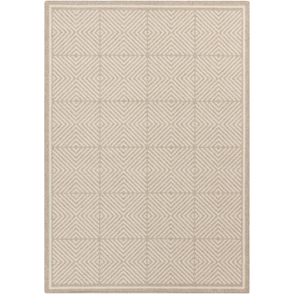 Buck Hill Beige/Ivory Geometric Wool Area Rug by George Oliver