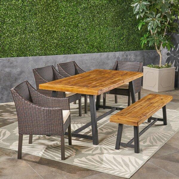 Lovisa 6 Piece Teak Dining Set with Cushions by Williston Forge