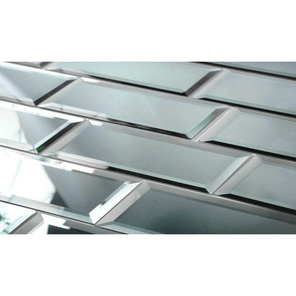 Echo 3 x 12 Mirror Glass Subway Tile in Graphite by Abolos