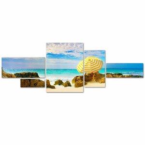 Bermuda Umbrella by Preston 5 Piece Photographic Print on Canvas Set by Trademark Fine Art